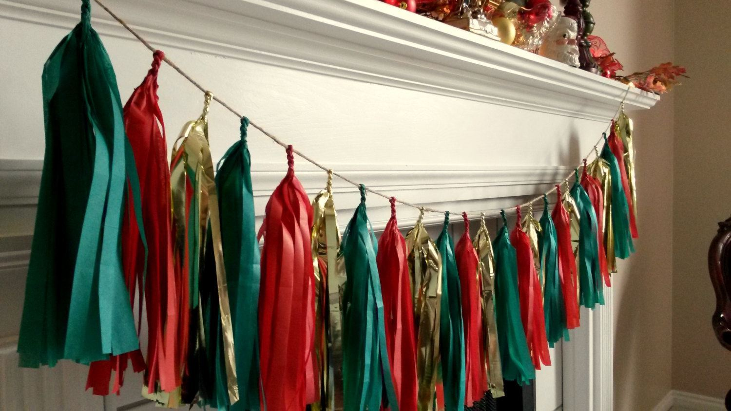 Outofmybubble Christmas Tissue Paper Tassel Garland In Red Gold And Green