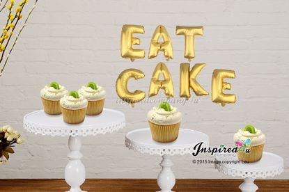 Picture of EAT CAKE Letters 16 Inch 40 cm Foil Balloons Sweet Table Wedding