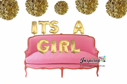 Picture of ITS A GIRL Letters 16 Inch 40 cm Foil Balloons Baby Shower