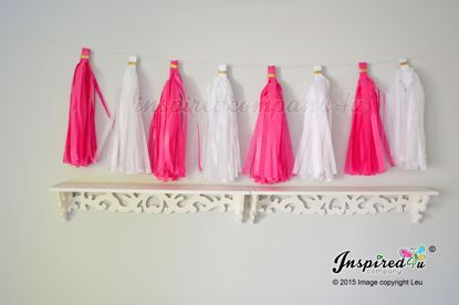 Picture of DIY Tissue paper tassel garland white hot pink wedding birthday party
