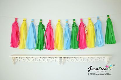 Picture of DIY Tissue Paper Tassel Wedding Hot Pink Yellow Blue Green