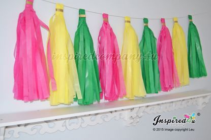 Picture of DIY Tissue Paper Tassel Wedding Hot Pink Yellow Green