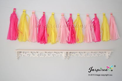 Picture of Birthday Garland Tissue Paper Tassel Wedding Hot Pink Yellow..
