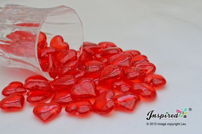 Picture of Red plastic heart gems Valentines Confetti Table Decor