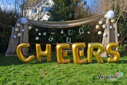 "Picture of CHEERS Letters up to 40"" / 100 cm Mylar Gold Foil Balloons Wedding"