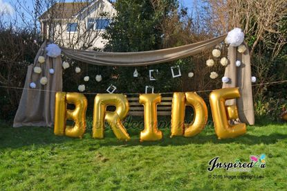 "Picture of BRIDE Letters up to 40"" Mylar Gold Foil Balloons Wedding"