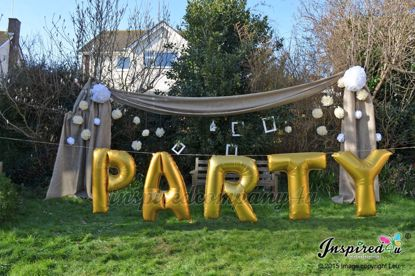 "Picture of PARTY Letters up to 40"" / 100 cm Mylar Gold Foil Balloons Wedding"