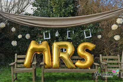 "Picture of MR MRS Letters up to 40"" / 100 cm Mylar Gold Foil Balloons Wedding"