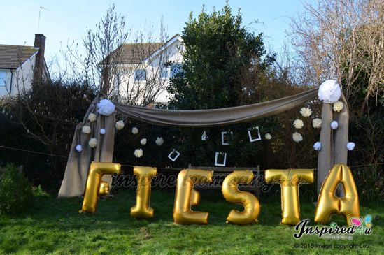 """Picture of FIESTA Letters up to 40"""" / 100 cm Mylar Gold Foil Balloons Wedding"""