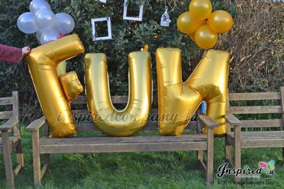 "Picture of FUN Letters up to 40"" / 100 cm Mylar Gold Foil Balloons Wedding"