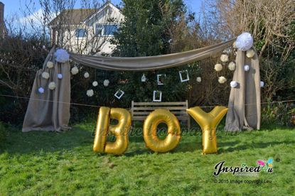 "Picture of BOY Letters up to 40"" / 100 cm Mylar Gold Foil Balloons Birthday Baby Shower"
