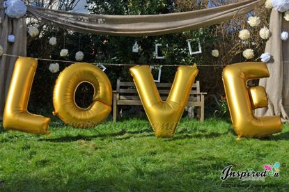 "Picture of LOVE Letters up to 40"" / 100 cm Mylar Gold Foil Balloons Wedding"
