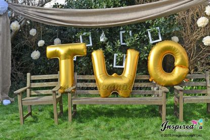 Picture of TWO Letters 40 Inch 100 cm Foil Balloons Birthday