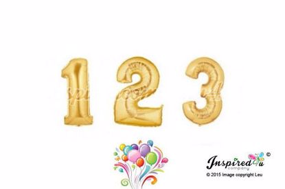"Picture of 16"" Gold Foil Balloon Numbers Birthdaye Age Wedding Bespoke Mylar"
