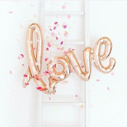 Picture of 5 x  Love Script Balloon Rose - Cutom