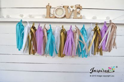 Picture of Tissue Paper Garland Champagne Turquoise