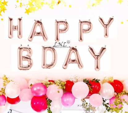 Picture of Happy Bday Rose Gold Balloons, Gold Silver Letters