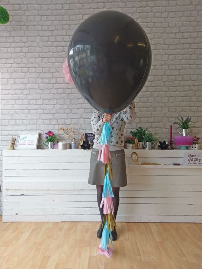 Picture of Gender Reveal Balloons Boy or Girl Baby Shower Tail Tassels