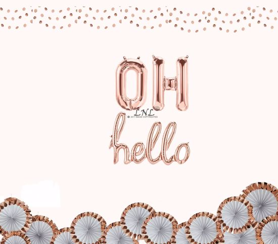 """Picture of OH Hello Rose Gold Balloons, Letters Foil 16"""" Mylar Wedding, Baby Shower"""