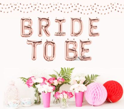 """Picture of Bride To Be Rose Gold Balloons Letters 16"""""""