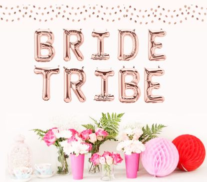 """Picture of Bride Tribe Rose Gold Balloons Letters 16"""""""