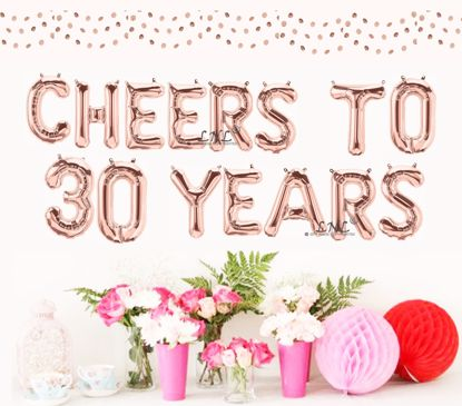 Picture of Cheers To 30 Years Rose Gold Balloons Letters 16""