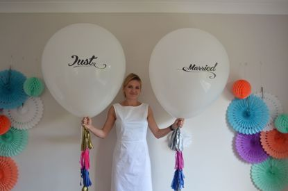 Picture of Just Married Printed Balloon Wedding  Giant 36 inch 3 feet Oval Tassel Tails
