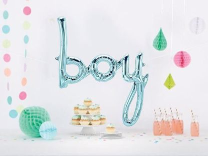 Picture of Boy Blue Script balloon 27 in Gender Reveal Baby Shower