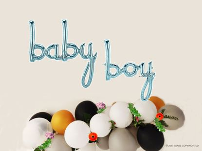 Picture of Baby Boy Blue Script balloon 34 in Gender Reveal Baby Shower