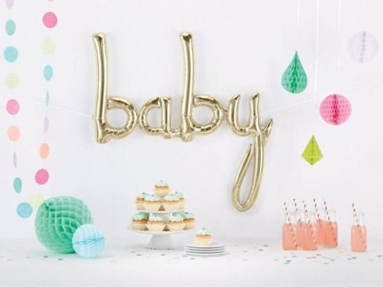 Picture of Silver Baby Script balloon 34 in Gender Reveal Baby Shower