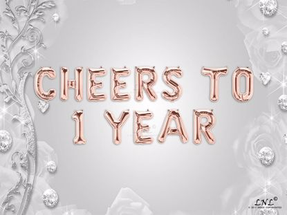 Picture of CHEERS TO 1 YEAR Letter Rose Gold Silver Birthday Balloons