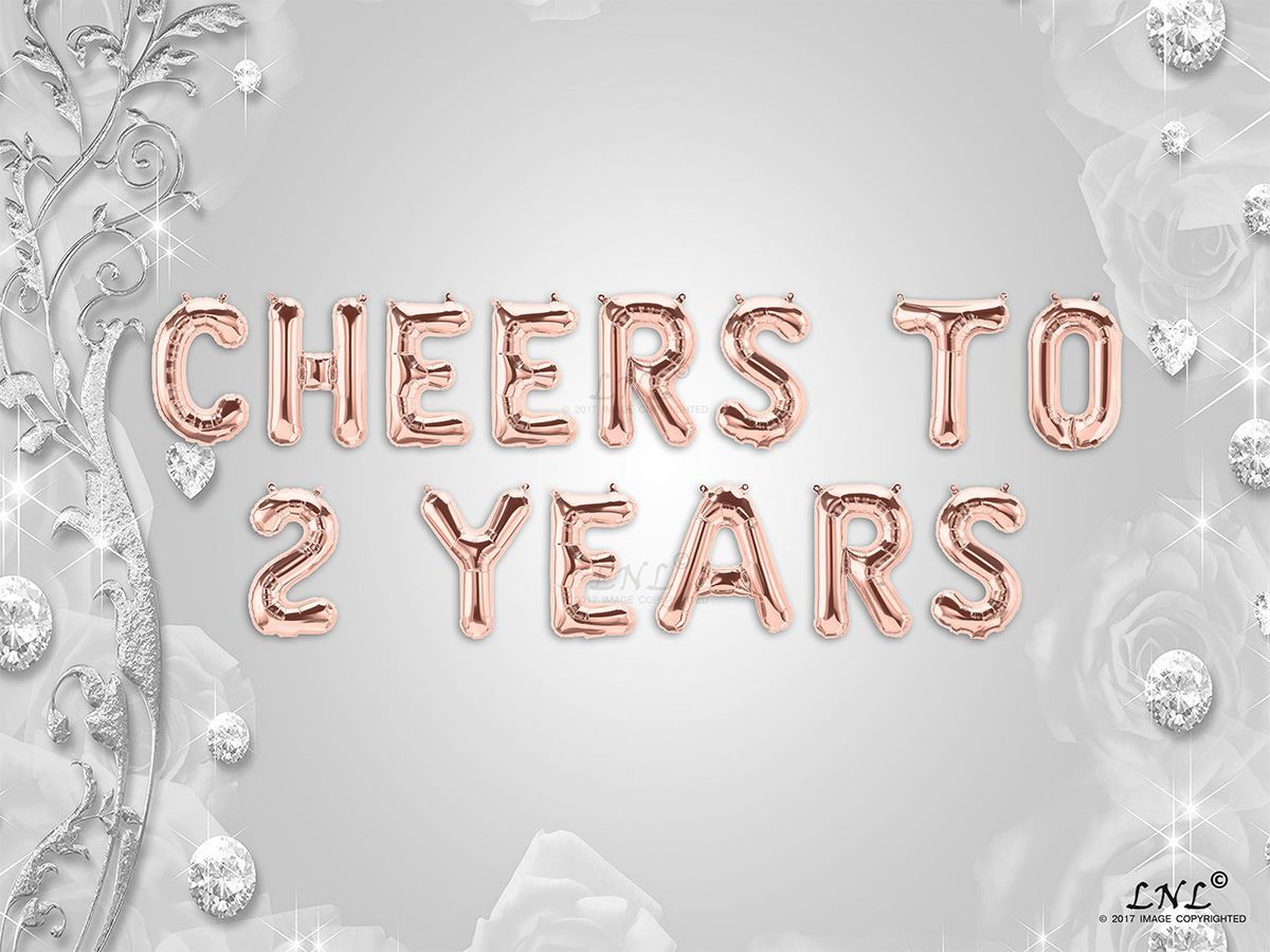 Picture Of CHEERS TO 2 YEARS Letter Rose Gold Silver Birthday Balloons