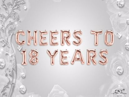 Picture of CHEERS TO 18  YEARS Letter Rose Gold Silver Birthday Balloons