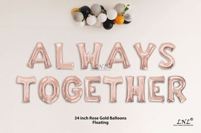 Picture of ALWAYS TOGETHER Rose Gold Letters 34 Inch Foil Balloons