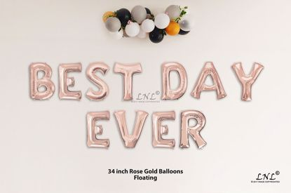 Picture of BEST DAY EVER  Rose Gold Letters 34 Inch Foil Balloons