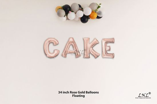 Picture of CAKE  Rose Gold Letters 34 Inch Foil Balloons