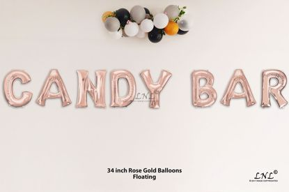 Picture of CANDY BAR  Rose Gold Letters 34 Inch Foil Balloons
