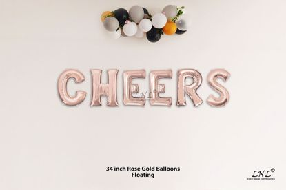 Picture of CHEERS Rose Gold Letters 34 Inch Foil Balloons