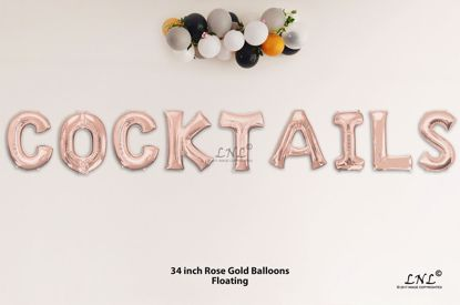 Picture of COCKTAILS Rose Gold Letters 34 Inch Foil Balloons