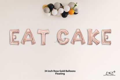 Picture of EAT CAKE Rose Gold Letters 34 Inch Foil Balloons