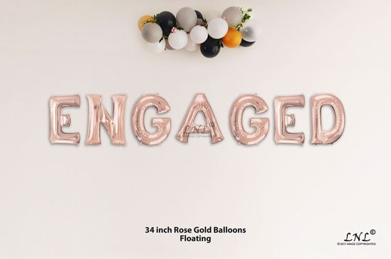 Picture of ENGAGED Rose Gold Letters 34 Inch Foil Balloons
