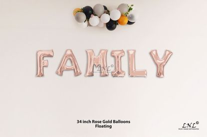 Picture of FAMILY Rose Gold Letters 34 Inch Foil Balloons