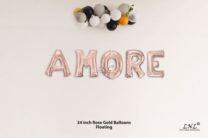 Picture of AMORE Rose Gold Letters 34 Inch Foil Balloons