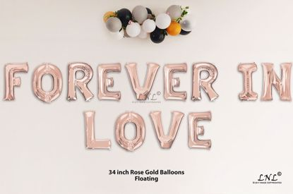 Picture of FOREVER IN LOVE Rose Gold Letters 34 Inch Foil Balloons