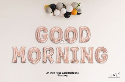 Picture of GOOD MORNING Rose Gold Letters 34 Inch Foil Balloons