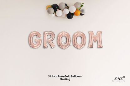 Picture of GROOM Rose Gold Letters 34 Inch Foil Balloons
