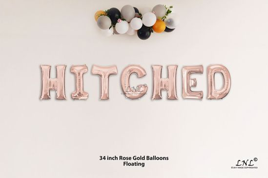 Picture of HITCHED Rose Gold Letters 34 Inch Foil Balloons