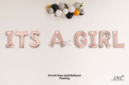 b5caf988250a ITS A GIRL Rose Gold Letters 34 Inch Foil Balloons