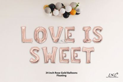 Picture of LOVE IS SWEET Rose Gold Letters 34 Inch Foil Balloons