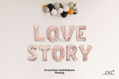 Picture of LOVE STORY Rose Gold Letters 34 Inch Foil Balloons